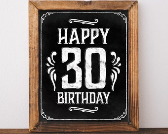 30th birthday decoration. Printable 30th birthday poster. Birthday sign in chalkboard style. Dirty 30 decorations. 30th birthday decor. DIY