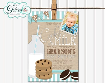 Milk and Cookies Birthday Invitation, Milk and Cookies First Birthday Invitation, Milk and Cookies Party Invitation, Boy Birthday Invitation