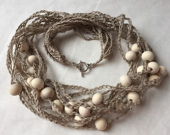 Handmade Crochet Linen Necklace. Natural Colour Linen Strand Necklace with Natural Wooden Beads. Multi Strand Necklace