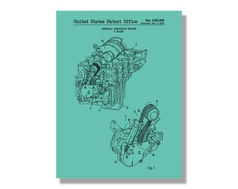 Engine blueprint etsy combustion engine automobiles et al patent poster blueprint style screen print hand made wall art in multiple colors malvernweather Image collections