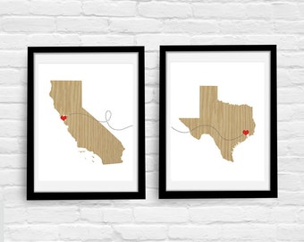 Two States Love Connection - Modern Set of Two 8x10 Custom Art Prints -  Personalized Love Connection - Wedding Anniversary House Warming