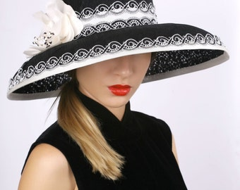 Kentucky derby hat, widebrim hat, Royal Ascot hat, Tea party hat, Black and ivory hat, Downton abbey hat, derby hat, Lace wide brim hat