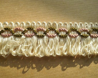 Lace synthetic fringe, off-white, embroidered background in shades of bronze green and pink, width 28 mm