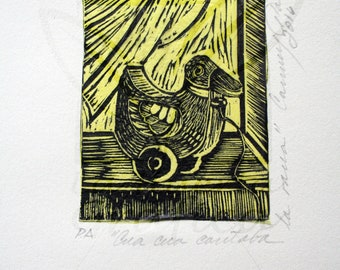 Duck Toy duckling Yellow Mexican print art