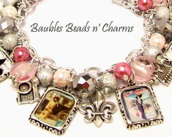 Vintage Paris Charm Bracelet, Paris Jewelry, French Charm Bracelet, French Jewelry, Altered Art Charm Bracelet, France