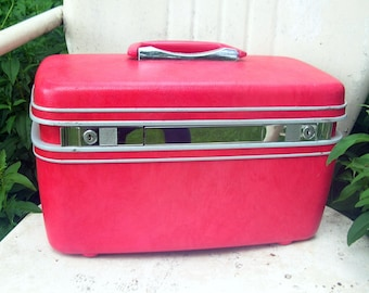 Vintage 60's Cherry Red + Chrome Train Case Suitcase Bag Luggage with Mirror Inside
