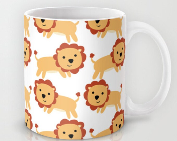 Lion Coffee Mug  - Lion Art Coffee Mug - Ceramic Coffee Mug - Original Art - 11 oz Mug - 15 oz Mug - Made to Order