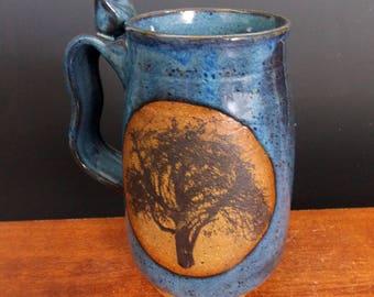 Stoneware Beer Mug  ~ Lake Superior Tree Design ~