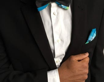 New man Madras blue & Black bowtie