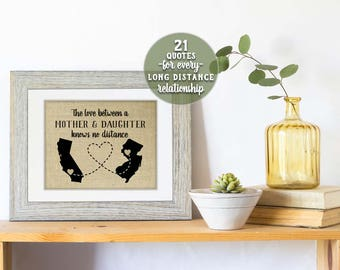Personalized State Art Long Distance Mother Daughter Gift Birthday Gift Gift for Mom from Daughter Long Distance Mom Gift Home State Gifts