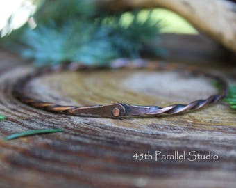 Twisted Copper Bangle, Rivet Bangle, Copper Bracelet, Bangle Bracelet, Copper Bangle, Bangle, Copper Jewelry, Rustic Bracelet, Rustic Bangle