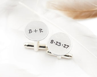 Personalized Cufflinks - Initials Cufflinks,  Anniversary Gift, Wedding Gift, Custom Cufflinks, boy friend gift, for husband, for him.