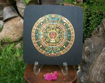 Mid Century Enamel Painted Brass On Wood Aztec Inca Mayan Calendar Wall Hanging  Plaque