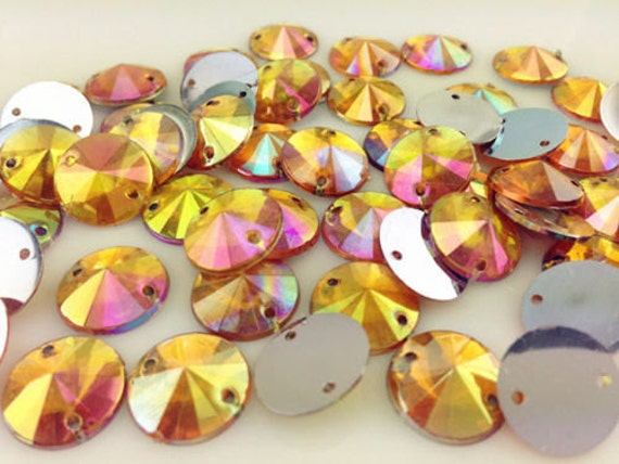 Orange Gold AB Round Flat Back Pointed Sew On Rivoli Resin Rhinestones Embellishment Gems C5