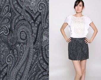 CLOSING SALE Vintage 90s Black Gray White Paisley Mini Skirt