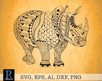 Zentangle Rhino SVG, Rhinoceros Svg, Rhino Cut File, Vinyl Cut file, Rhino png, Zentangle png, Vinyl Decal, Rhino Dxf, Svg art, Rhino art