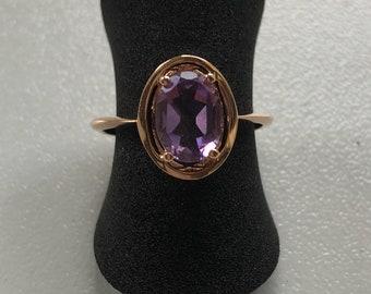Golden (red) amethyst ring, 14 carat.