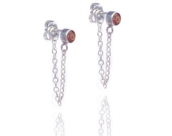 Stone and Chain Earrings - Garnet Gemstones - Sterling Silver - Dangling Earrings - Stud and Chain