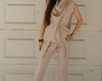 Beige Tank Top and Long Trousers | Sleeveless Top | Cowl Neck Top | Faux Pocket Trousers | Wrapover Trousers | Long Pants by Silvia Monetti
