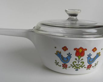 Corning Country Festival Casserole Dish with Pyrex Lid - 1975