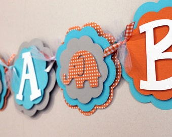 Elephant Its a Boy or Name Banner Orange, Sky Blue, and Gray Boy Baby Shower Party Decorations
