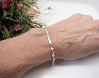 Freshwater Pearl Bar Bracelet, June Birthstone, White Pearl Bracelet In Sterling Silver - Gold, 6-8.5 Inches Length, Wire Wrapped Bracelet