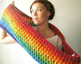 Rainbow Scarf. Bright & Colorful Chunky Infinity Cowl Circle Scarf