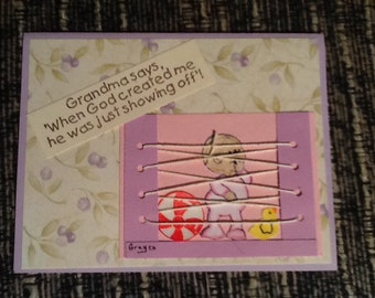 Funny Cards for Grandma, handmade, hand stamped,