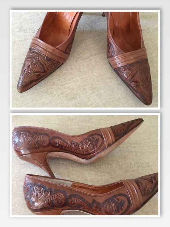 1950s ENTIN'S Shoes Hecho En Mexico Hand Tooled Leather Heels Stilettos Sz 5 N