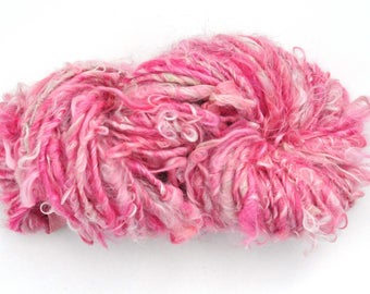 Handspun Curly Yarn - Pretty Lock Spun - Rosie - Suri Alpaca - 38 Yards