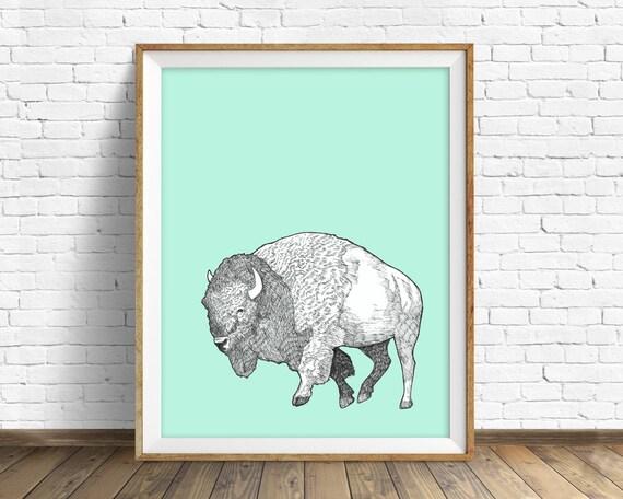 "bison, buffalo, bison print, bison art, large art, large wall art, art print, nursery decor, woodland nursery, buffalo art, aqua  - ""Bison"""