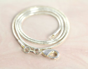 Snake Chain Necklace 925 Sterling Silver and Rhodium Plated 1mm 14 16 18 20 22 inches