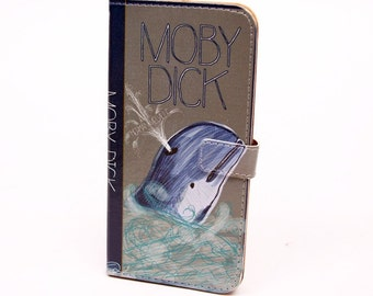Book phone /iPhone flip Wallet case- Moby Dick (Dark) for  iPhone X,8, 7, 6, 6 7 8 plus, 5, 5s, 5c, Samsung Galaxy S7 S6, S5 , Note 4, 5, 7