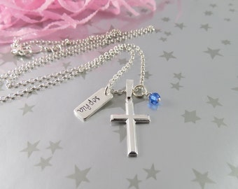 Girl's Personalized First Communion Jewelry in Sterling Silver with Hand Stamped Name and Birthstone of Swarovski Crystal. Confirmation gift