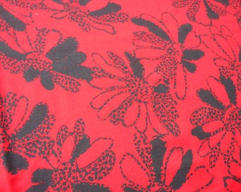 Tablecloth red with black flowers fabric