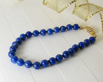 Hand-Knotted Denim Lapis Lazuli and Gold Bracelet