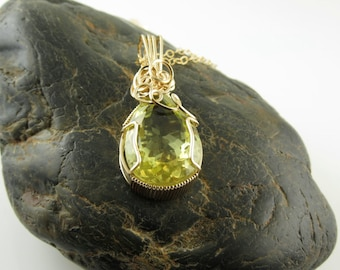 Lemon Quartz Jewelry, Lemon Quartz  Necklace,  Lemon Quartz Pendant,  Wire Wrapped,  Wire Wrapped Necklace, Handmade Jewelry