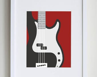 Bass Guitar Art Print Music Wall Cool For Boys