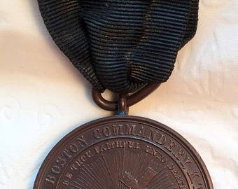 1889 Fraternal Medal, Knights Templar  24th Triennial Conclave with makers box