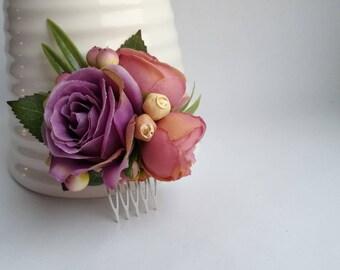 Purple flower comb Bridesmaid hair accessories Bridesmais comb Purple wedding hair comb Pink flower comb Bridal hair comb Purple fascinator