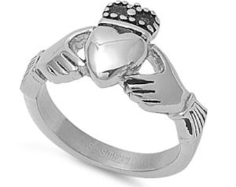 Personalized Stainless Steel Claddagh Ring - Free Engraving