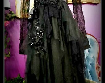 RESERVED Floaty Etherial Gothic Gypsy,Boho,Bohemian Fairy Fae dress gown Size S-M