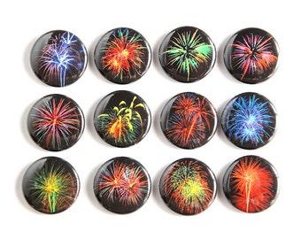 Fireworks Set of 12 - Pinbacks Buttons Badges 1 inch - Black