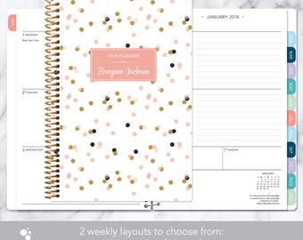 weekly planner | 2018-2019 12 month calendar | add monthly tabs student planner | personalized planner agenda daytimer | pink gold confetti
