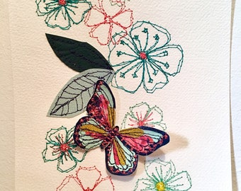 Butterfly original art-mixed media-stitched