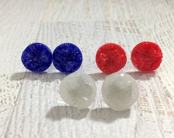 Independence Day Bumpy Druzy Stud Earring Set in Red White and Blue with Surgical Steel Posts