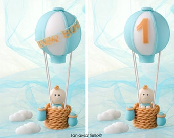 Striped Hot Air Balloon Cake Topper-Handmade Cold Porcelain-Baby Shower Baptism Christening Birthday Party Custom Name or Number-Clay