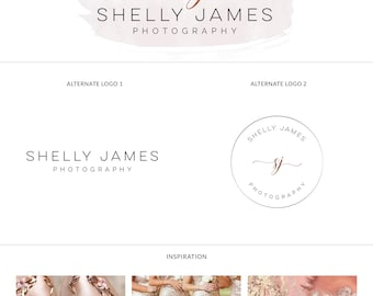 Rosegold photography logo and branding for photographer, Logo design set, Photography logo modern, Calligraphy branding package, Watermark
