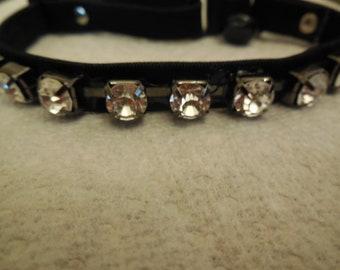 Rhinestone glam pet collar