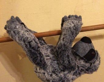 Grey faux fur stuffed sloth/plush sloth